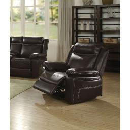 Contemporary Style Metal and Leatherette Recliner, Espresso Brown