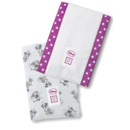 SwaddleDesigns Baby Burpies, Set of 2 Cotton Burp Cloths, Very Berry Disney Minnie Mouse