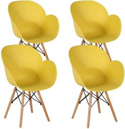 VECELO Mid Century, Modern DSW Chair Shell Lounge with Beech Wood Eiffel Legs for Living, Bedroom,Kitchen,Dining Room,Easily Assemble&Clean, Set of 4, Yellow, 4 Count