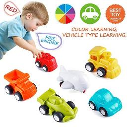 VATOS Toddler Car Toys, 6 Pack Toy Cars for 1 2 Years Old with Free Wheel City Traffic Little Cars,Toy Cars for Toddlers Early E