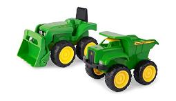 TOMY John Deere 6'' Dump Truck & Toy Tractor With Loader Construction Vehicle Set