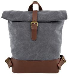 Angelina's Palace Laptop Backpack Waxed Canvas and Leather Work Bag Waterproof Bookbag Travel Rucksack(Taupe)