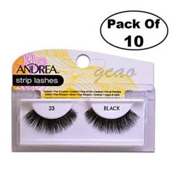 Andrea Strip Lashes, Black [33] 1 pair (Pack of 10)