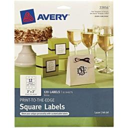 """Avery Square Labels with Sure Feed for Laser & Inkjet Printers, Print-to-The-Edge, 2"""" x 2"""", 120 Labels (22816)"""
