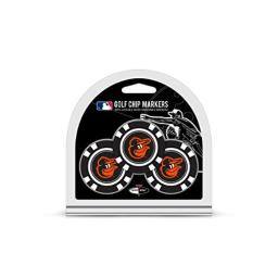 Team Golf MLB Golf Chip Ball Markers (3 Count), Poker Chip Size with Pop Out Smaller Double-Sided Enamel Markers, Baltimore Orioles