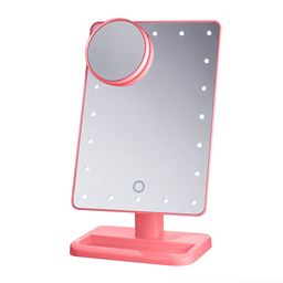 Beautify Beauties Lighted Makeup Mirror, Rotatable With Battery Operated Led Lights (pink) - 1 Ea