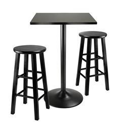 Winsome 3 Piece Counter Height Dining Set, Black Square Table Top and Black Metal Legs with 2 Wood Stools
