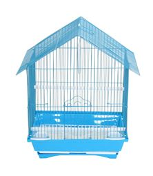 """YML A1314MBLU House Top Style Small Parakeet Cage - 13.3"""" x 10.8"""" x 17.8"""" - Blue"""