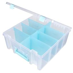 ArtBin RemovNle Clear Art Craft Storage Container Box Super Satchel Double Deep, Dividers, Aqua, 6990RH, Clear & Aqua