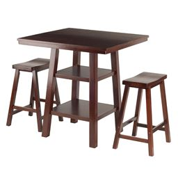Winsome Orlando 3-Piece 2 Shelves High Table with 2 Saddle Seat Stools