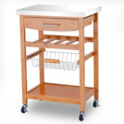 Bamboo Rolling Storage Trolley Cart Stainless Top Wine Rack