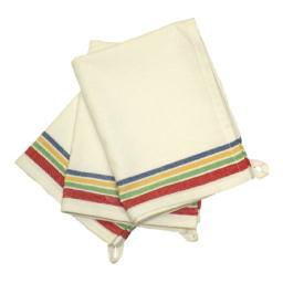 Aunt Martha's 18-Inch by 28-Inch Package of 3 Vintage Dish Towels, Multi Striped, MultiStripe