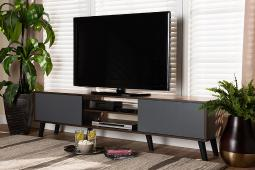 Baxton Studio Clapton Modern and Contemporary Multi-Tone Grey and Walnut Brown Finished Wood TV Stand