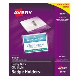 """Avery Clear Heavy-Duty Clip Style Landscape Badge Holders, 3"""" x 4"""", Box of 100 (2923)"""