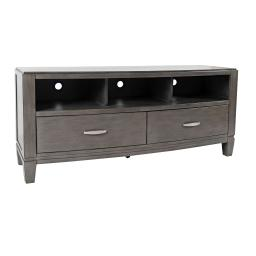 Wooden Media Unit with 2 Drawers and 3 Open Shelves, Small, Gray