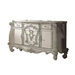 5 Drawer Wooden Dresser with 2 Cabinets and Carved Details, White