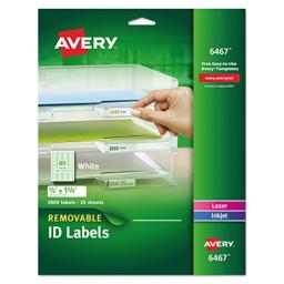"""Avery Self-Adhesive White Removable Laser Id Labels, 1/2"""" x 1-3/4, 2000 per Pack (6467)"""