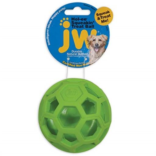 JW Pet Company 43510 Treat N Squeak Toy for Pets, Assorted (Red/Green/ Blue) .Treat N Squeak is a durable open natural rubber where treats can be inserted.This is a one of a kind combination squeaky treat toy.Manufactured by Petmate.