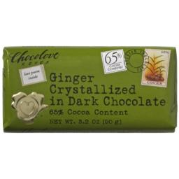 Chocolove Chocolate Bar dark Ginger Crystalized, 3.2 oz