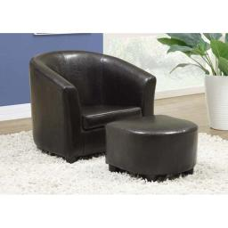 Offex OFX-283965-MO Dark Brown Leather-Look Juvenile Chair/Ottoman 2 Piece Set