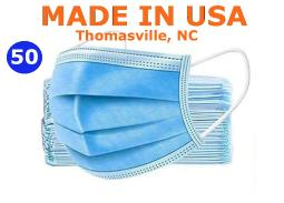 GS Medical Disposable Face Mask, Made in USA, Box of 50 Mask, Blue Face Mask, 3 Layer, Nose Pin ( Non Surgical Mask)