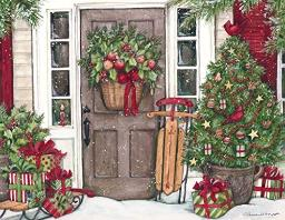 "LANG - ""Heart & Home Christmas"", Assorted 2-Set Christmas Cards, Artwork by Susan Winget"" - 18 cards (9 of each design), 19 envelopes - 5.375"" x 6.875"""