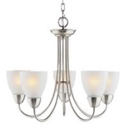 Boston Harbor A2242-6 2364008 Dimmable Chandelier, (5) 60/13 W Medium A19/Cfl Lamp, Chain Hanging, Frosted Glass Shade