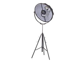 Adjustable Metal Floor Lamp with Round Fabric Shade and Tripod Feet, Small, Black
