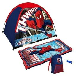 Marvel Ultimate Spiderman 4 Piece Kids Camp Kit - Indoor / Outdoor Play Tent, Sleeping Bag, Carry Sack & Flashlight