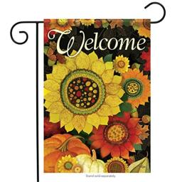 Carson Home Accents Autumn Sunflowers Trends Glitter Garden Flag