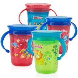 Nuby 4 Piece 360 Printed Twin Handle Wonder Cup, Red/Blue/Green