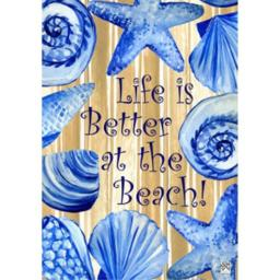 """"""" LIFE IS BETTER AT THE BEACH """" - Double Sided GARDEN Size Decorative Flag 12 X 18 Inches"""