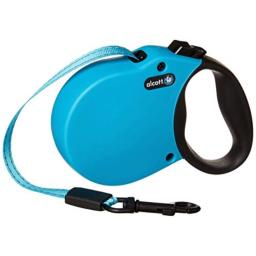 Alcott Adventure Retractable Reflective Belt Leash, 10' Long, Extra Small for Dogs Up to 25 lbs, Blue with Black Soft Grip Handle