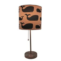 Nautical Whale Table Lamp - Navy Blue & White Shade