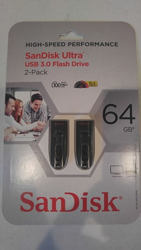 SEALED SANDISK ULTRA 64GB USB 3.0 FLASH DRIVE 100MB/S 2 PACK SDCZ48-064G-A16S2