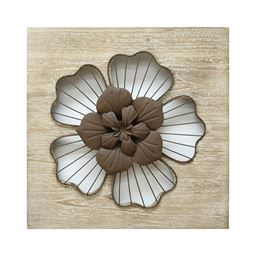 Stratton Home Decor Rustic Flower Wall Decor  Natural Wood/Espresso