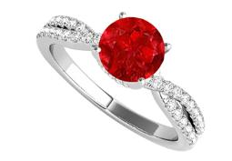 Criss Cross Design Engagement Ring with Round Ruby CZ