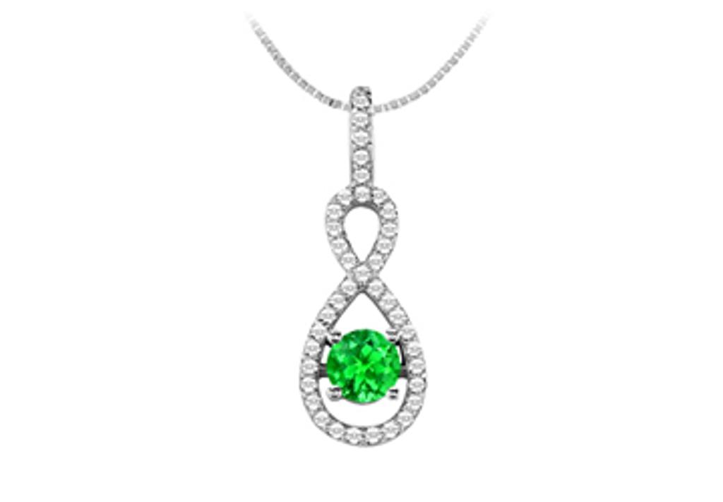 14K White Gold Fashion Pendant with Cubic Zirconia and Created Emerald 1.50 Carat TGW