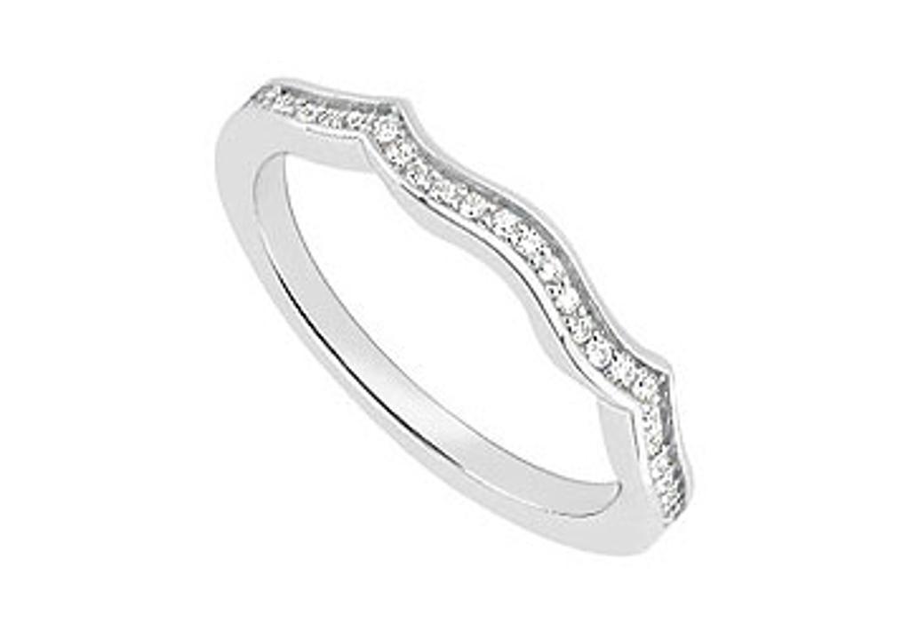 14K White Gold Diamond Wedding Band 0.15 Carat Diamonds