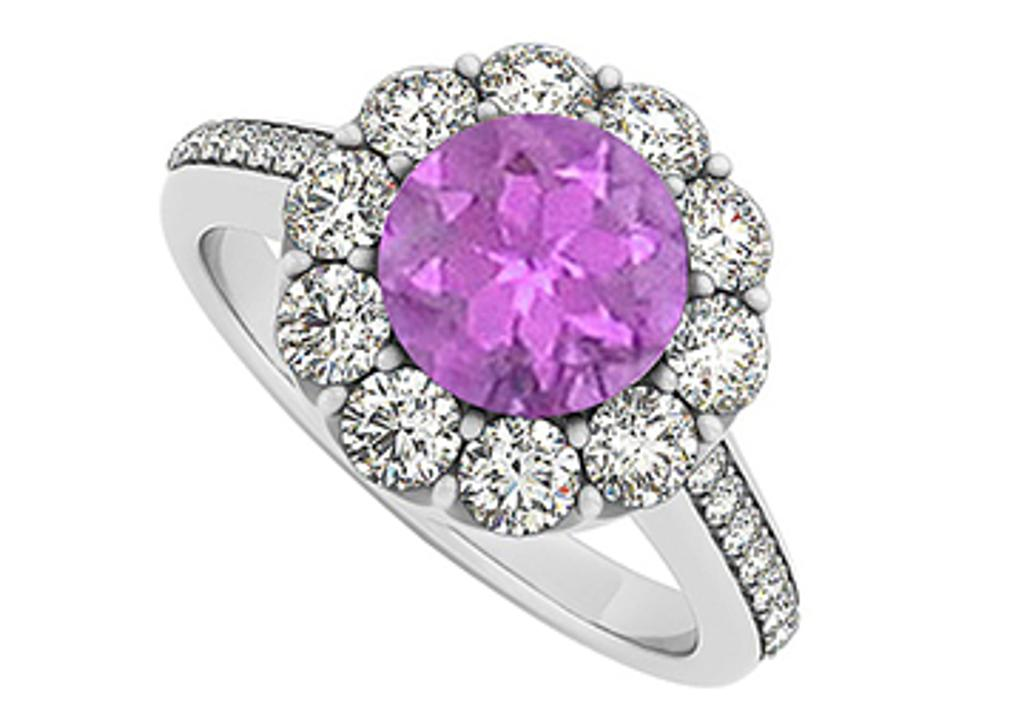 14K White Gold February Birthstone Amethyst and Cubic Zirconia Halo Engagement Ring