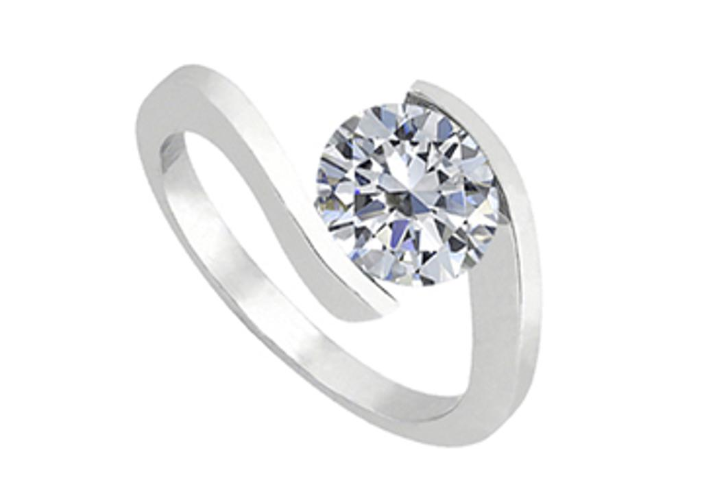 14K White Gold Fashion Triple AAA Quality Cubic Zirconia Solitaire Ring of One Carat CZ