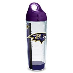 Tervis 1231097 NFL Baltimore Ravens Stripe Tumbler with Wrap and Purple Lid 24oz Water Bottle, Clear