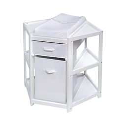 Badger Basket Co Diaper Corner Baby Changing Table with Hamper and Basket - White