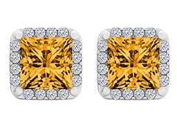Citrine and CZ Halo Stud Earrings 925 Sterling Silver