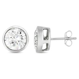 Rozzato Jewelry 2 ct. Sterling Silver Plated C.Z. Round Stud Earrings