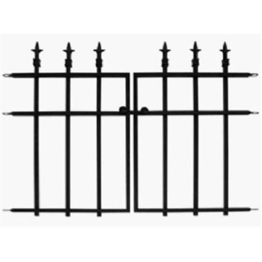 87104 Black Classic Finial Style 2 Piece Garden Fence Section