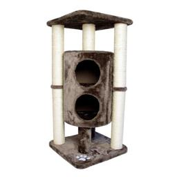 Iconic Pet 51518 Sisal Scratching Furniture, Tree with Dual Cave & Multiple Posts - Taupe