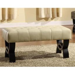 Armen Living Lc5012Bebccr24 5012 Central Park 24 Inch Tufted Cream Leather Ottoman