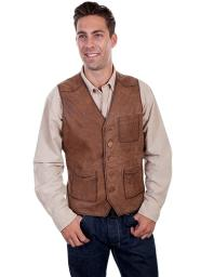 Scully Western Vest Mens Button Front Leather Chest Pocket 617 617