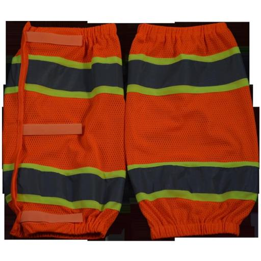2 x 18 in. ANSI Class E Orange Mesh & Lime Contrast Reflective Leggings with Adjustable cloth hook and eye Closures, One Size